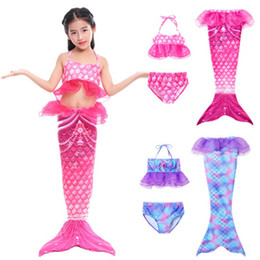 Maillots de bain piscine en Ligne-Girls Maillot de bain 3pcs Mermaid Tail Maillot de bain Enfants Sirène Piscine Piscine Piscine Princess Beach Bikini Filles Party Fête Costumes 127 x2
