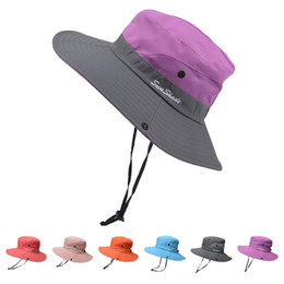 cappello a secchiello con cinturino  Sconti Cappello da pesca Sole Protezione UV UPF 50+ Cappello da sole Secchiello Summer Men Donne Grandi Punta larga Bordo Bob Escursionismo all'aperto con cinturino a catena