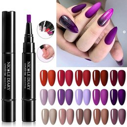 Base un gel online-Diario Nicole Diario Faster Shipping Purple Nail Gel Vernice Pencilina One Step Gel Nail Pen Nessuna necessità Base superiore 3 in 1 Polish glitter UV