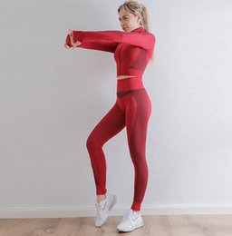 Piece mantel design online-Autunm Winter Mode Designer Womens Baumwolle Yoga Anzug Gymshark Sportbekleidung Trainingsanzug Fitness Sport Zwei Teil Set 2 stücke Leggings Outfits Mantel