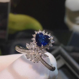 Anéis de diamante azul natural on-line-H622 Azul Sapphire Ring 1.02ct Real Pure 18 K Natural Unhat Royal Azul Sapphire Gemstone Diamantes Pedra Anel feminino