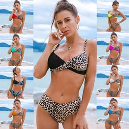 Tendenza del leopardo online-Donne Leopard Colorblocked Bikini Bikini Swimwear Trend Sexy Back Bras Briefs Switch Swimsuit Swimsuit femminile Sling Sling Bib Beach Set
