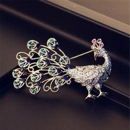 PEACOCK peafowl bird FASHION BROOCH PIN CRYSTAL DIAMANTE bling WEDDING OCCASSION