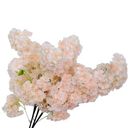 2021 piante artificiali di fiori di ciliegio 10 pz Simulazione Ciliegia Blossom Branch Flower Floreale Falso Plant Decorazione da sposa Party Party Garden Decor Decorative Flowers Ghirlande