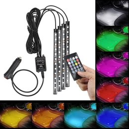 illuminazione decorativa decorativa interna Sconti 4 in 1 Automobile Interno Lampada Atmosfera 48 LED Decorazione d'interni Illuminazione RGB 16-Color LED Telecomando wireless 5050 Chip 12V Carica Affascinante