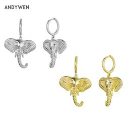2021 anillos de boda de elefante Sterling Silver Elephant Charm Pendientes de gota Big Encantos Bucles Anillo Roca Punk Joyería Especial para 2021 Women Wedding Dangle Chandelier