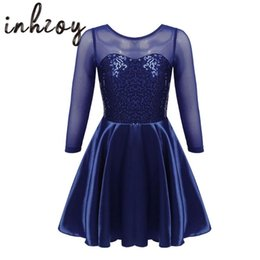 2021 robes de patinage sur glace Enfants filles danse costumes brillants paillettes semi voir à travers maille robe de ballet Figure patinage de glace Stage Performance usure