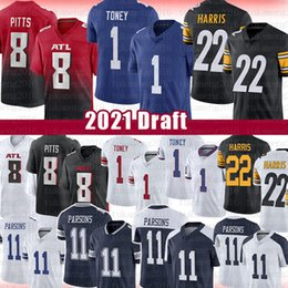 Pullover falconi online-1 Kadarius Toney 22 Najee Harris 8 Kyle Pitts Micah Parsons Football Jersey 2021 Draft New Pittsburgh