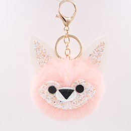 Borsa volto volpe online-Portachiavi Peluche Sequin Jade Face Face Fox Key Catena Chain Pendant Pur Ball Doll Lady Bag Car