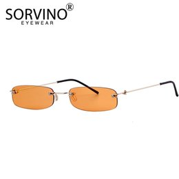 2021 lunettes de soleil teintées orange SORVINO Small Orange Rimless Rectangle Sunglasses 2021 Men Women 90s Designer Tiny Narrow Frameless Tint Sun Glasses Shades SP40