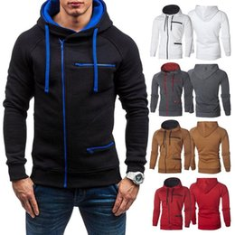 Männer s zip up pullover online-Sportstil Herren Hoodie American Fleece Zip Up Jacke Sweatshirt Mit Kapuze Plain Color Top M-XXXL Herren Hoodies Sweatshirts
