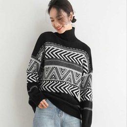 Frau wollpullover online-Female Retro Wool Sweater Winter Geometric Pattern Argyle Pullovers Loose Oversized High Neck Knitted Woman Jumper Mujer Women's Sweaters