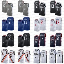 Camicia paul george online-Cucito James 13 Harden Basket Plackball Jerseys Bklyn Los Kawhi Kyrie Jersey 2 Leonard 11 Irving Paul # 13 George Kevin 7 Durant Angeles Camicia da uomo Black Bianco Blu