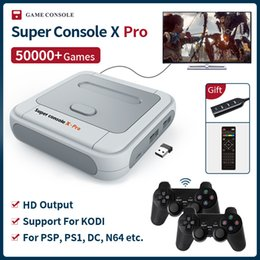 2021 super console di gioco Super Console X PRO S905X HD WiFi Output Mini TV Video Game Player per PSP / PS1 / N64 / DC Games Dual System integrato 50000+ giochi 210317