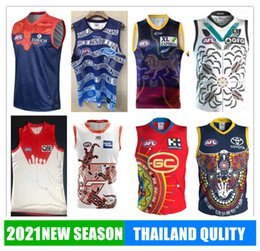 Maglia di leone online-2021 Melbourne Fremantle Sydney Dockers Jersey Adelaide Richmond Tigri Giants Cats Essendon Tasmania Lions Lions Rugby Afl Camicia Gilet