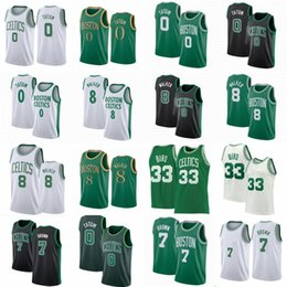 Camicia uccello online-Jayson 0 Tatum Plackball Jerseys Kemba 8 Walker Jaylen 7 Brown Vintage Larry da uomo Larry 33 Bird Jersey Evan 94 Fournier Black Green White White Camicia retrò