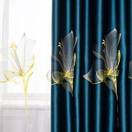 Cortinas azul oscuro online-Damasco Lily Bordado Blackout Cortinas Lujo Dark Blue Window Drapes Sheer Tulle para sala de estar Dormitorio Cortinas ZH444F Cortina