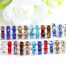 Grande distanziale per fori cristallo online-Glass Loose Bead for European Bracelets Findings Mixed Multicolor Rhinestone Crystal Big Hole Zircon Beads Spacer 8mm 10mm Jewelry Accessory
