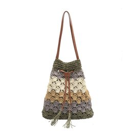 diseñador de bolsas de playa al por mayor Rebajas Diseñador Correas Bag Wholesale Crochet Bolsa Bolsos Bolsos Bolso Moda Estilo de Compras Hollow Paja Crossbody Color Patchwork Out New Tote Ooop
