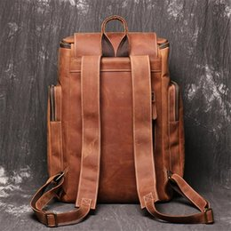 Bolsos de entrenamiento online-Brown Crazy Vintage Nesitu grueso genuino nuevo caballo Highend Leather A4 14 '' 15.6 '' Lap Men Backpack Bolsas de viaje M10431