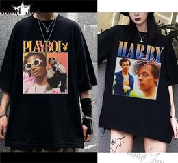 shorts hommes de style rap Promotion Tshirt pour hommes Unisexe rap Tupac Playboi Juice Wrld Lil Peep T-shirt T-shirt Hip Hop Streetwear Casual T-shirts Harry Style Harry