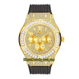 Fianchi larghi nero online-Missfox Eternity V315 Hip Hop Fashion Mens orologi CZ Diamond Inlay Diam Dial Dial Quarzo Movimento da uomo Guarda Iced Out Big T Diamonds Bancia in lega di cornice Braccialetto in gomma nera