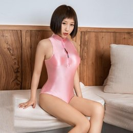 Collant giapponesi online-Sexy Japanese School Kawaii Bodysuit Candy Color Sukumizu High Cut One Piece Swimwear Thong Club Wear Leotard Tight F18 One-Piece Suits