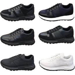 2021 sapatos elegantes rendas Mens Designer Sneakers Prax 01 Leather Lace-up Elegante Runner Trainers Nylon Luxury Shoes Casuais sapatos 6 Design com caixa 276
