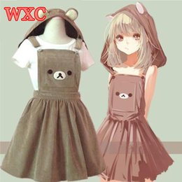 2021 sangle rilakkuma Bear Rilakkuma Straps Robe Lolita Bretelles Bretelles Mori Mori Fille Kawaii Robe École Vêtements Vestido Ship de US Drapping Expédition 210322
