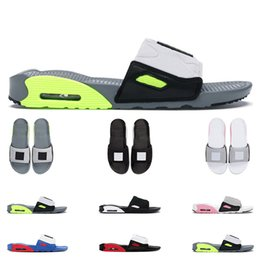 Zapatillas de deporte rojas online-Mujeres para hombre 90 Slide Beach Slippers Summer Volt Black Rose Game Royal Chile Red Sports Sneaker Moda al aire libre