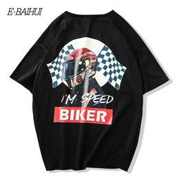 camisetas de motorista Rebajas Men's T-Shirts Men Novelty T-shirt Summer Hip Hop Streetwear Top Biker Short Sleeve Harajuku Cotton Tees Fashion Club Tee Male S90