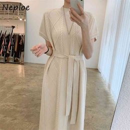 Simples manches motif robe en Ligne-Simple Long Long Bas Sweater Robe Femmes Col O-Cou Sleeve Loose Pull Femme Vestidos Lingue Twist Motif Blanc Robe 210422