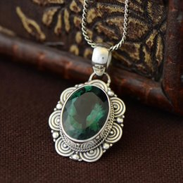 2021 natürliche smaragd anhänger Echtes Sterling Silber 925 Anhänger für Frauen mit Emerald Natural Stones Antique Retro Lucky Colgantes Mujer-Medaillon