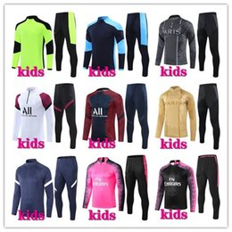 Tute da calcio per bambini online-20 21 21 Kids Football Training Suit Soccer Tracksuit 2020 2021 Kids Football Tracksuit Surversement Chandal Chandal Jogging