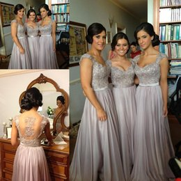 Wholesale Cheap Long Dresses Sale - Free shipping!Norma Couture silver grey coral lavender cap sleeve sheer back applique chiffon long for sale cheap bridesmaid dresses 2017