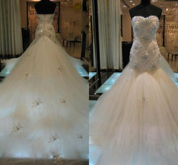 Wholesale Popular Samples - New Elegant Real Sample Tulle Mermaid Wedding Dresses W1373 Princess 2014 Bridal Gowns Crystal Dazzling Sweetheart Stunning Fashion Popular