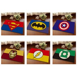 Wholesale Door Carpets - Full New Doormat 40*60cm Superman Batman Captain America Animation Heroes Series Bedroom Carpet Super Soft Mats Cartoon Floor Door Rugs
