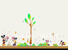 Wholesale Wholesale Funlife - Funlife 300x150cm 120x60in Mickey Minnie Mouse Love Tree Flower Grass Underbrush Butterfly Wall Sticker For Decoration BD1039