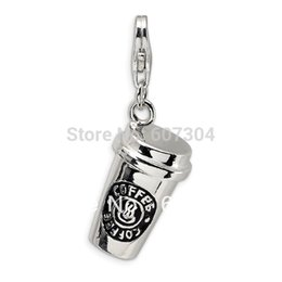Wholesale Clasp Making - 10Pcs Lot Zinc Alloy Antique Silver Plating Hand-made 3D Coffee Cup Lobster Clasp Charm Jewelry From Ourself Factory