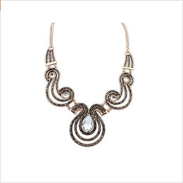 Wholesale Trend For Chain Jewelry - New Trend Statement Gem Chain exaggerated Vintage Pendant choker Necklace Short Jewelry For Women