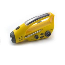 Wholesale Dynamo Solar Radio Flashlight Crank - Mulit-function Solar Powered Rechargeable FM Radio LED Flashlight 0.7W Hand Crank Dynamo Torch Lamp For Outdoors Emergency Rescue Light B176