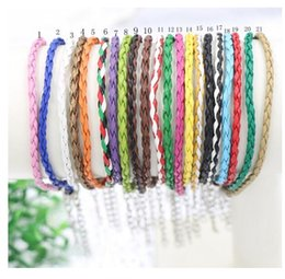 Wholesale Leather 3mm Bracelet - Fashion 3mm 100pc Lots Jewelry Mixed Type Alloy Antique Silver DIY Charms PU Braided Leather Bracelets
