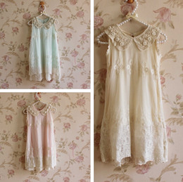 Wholesale girl lace dress pearl collar - summer girls chiffon lace pearl collar sleeveless Princess Dress girls lace flower dress princess dress girls sleeveless lace dress in stock