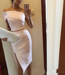 Wholesale Ladies Formal Cocktail Dresses - Cheap Elegant White Two Pieces Cocktail Party Dresses 2017 Unique One Shoulder Ladies Short Evening Formal Wear Events Gown