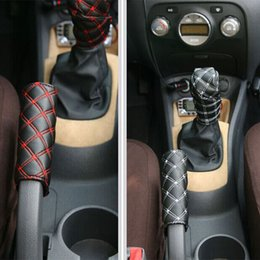Wholesale Car Shift Knob Cover - Hot sale New Fashion Car SET Manual Shift Knob Gear Stick Hand Brake Covers Free Shipping Interior Accessories