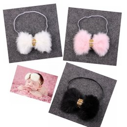 Wholesale Elegant Hair Bows - 5pcs New Baby Rabbit Fur bow Headband for Infant Girl Hair Accessories Elegant FUR bows clip hair band Newborn Photography Prop YM6105