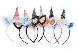 Wholesale Feather Ears - 20 pcs Baby Unicorn Party Hairwear Birthday Party Flower Feather Hair Clasp Cosplay Crown hair bands Cute Cat Ears Headband headwear FJ3152