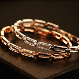 Wholesale golden silver cuff bangle bracelet - 2017 Brand Hollow Out Crystal Arm Bracelet for Women pulseira prego armband damen Golden Silver Bracelet Arm Cuff Bangle Jewelry Gift