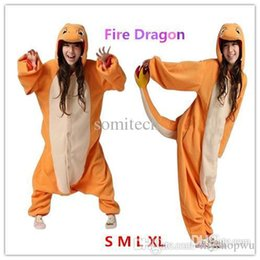 Wholesale Dragon Pajamas - Wholesale-Hot Unisex Adult Cosplay Adults Anime Cartoon Costumes Pajamas Pyjamas Onesie Charmander Fire Dragon