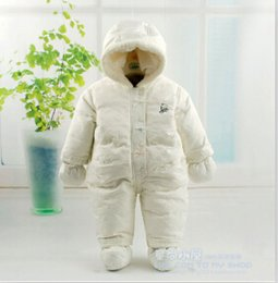 Wholesale Baby Girls Snowsuits - Wholesale-2015 newborn Winter snowsuits baby Print soft fabric overalls down jackets white duck down outerwear,infant girls boys clothing